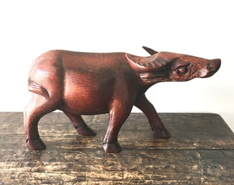 Mid Century Hand Carved Wood Cape Buffalo Figure