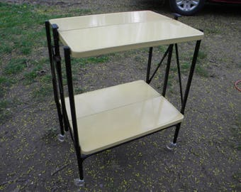 beautiful 1960s vintage mid century YELLOW metal rolling serving KITCHEN utility FOLDING cart