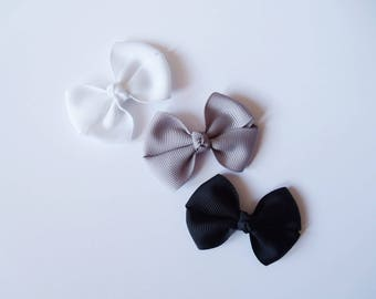 Small Hair Bows - One Size Nylon Headbands - Mini Pig Tail Bow Hair Clips - Black, Silver Gray, White Satin or Grosgrain - You Pick Color