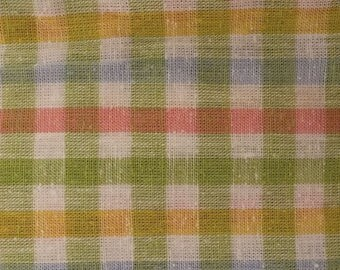 Over 3 Yards of Pink Green Blue and White Checked Fabric Nubby Cotton Linen Look Spring Summer Colours