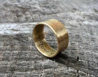 Men's Rustic 9mm Wedding Band - Thick Rugged Raw Brass Ring - Custom Size & Width with Personalized Stamping - Viking Jewelry