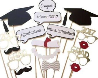 17PCS 2017 Graduation Grad Party Mask Photo Booth Prop Mustache On Stick US SHIP