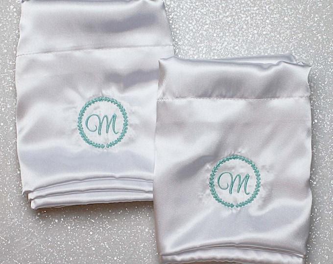 Satin Pillowcase, Monogrammed pillowcases, Set of two pillowcases, Wedding gift, Silk Pillowcase, Personalized Pillowcase, white and mint
