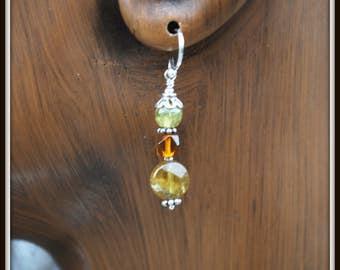 Green Garnet Earrings, Garnet and Amber Earrings, Grossular Garnet Earrings, Earrings With Amber, Green and Brown Earrings