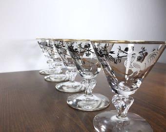 MID CENTURY Weather Vane Glasses - Set of 5