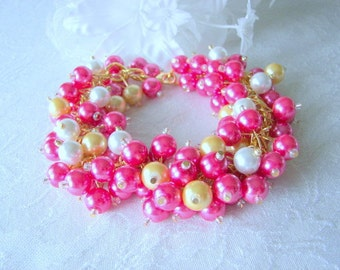 Hot Pink Gold and White Pearl Cluster Bracelet, Wedding Jewelry, Chunky Hot Pink Bridesmaid Bracelet, Mother of the Bride Jewelry Gift