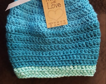 Messy Bun Beanie, Made to Order in Your Choice of Colors