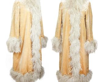 1920s Coat // Cream Velvet Ostrich Feather Art Deco Flapper Coat
