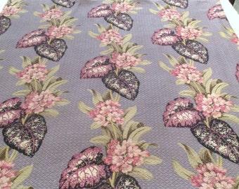 SALE Vintage Barkcloth 44 x 87  Fabric Tropical Curtain Rare Lavender Black Vat Prints 2 of 3