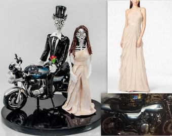 Motorcycle cake topper love never die Skeleton bride & groom
