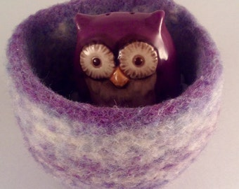 Felted wool bowl wool basket jewelry holder violet blue gray