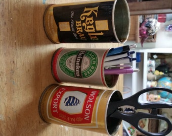 Desk Set Organizer Office Supplies Pencil Holder Primitive Beer Cans Man Cave Decor