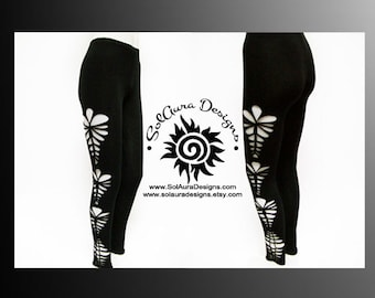 "Womens / Juniors ""OH LA LA 2"" Cut Up, Shredded and Weaved Black Leggings, Club Wear, Sexy Wear, Yoga Wear L-3010"