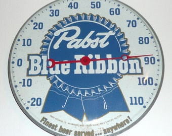 Pabst Blue Ribbon Beer Brewery PBR Bar Thermometer Milwaukee Wisconsin Breweriana Pam Clock Co Brooklyn New York Rare Sign Display
