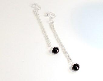 Earrings long chain dangle shoulder duster black clip or pierced handmade Pat2