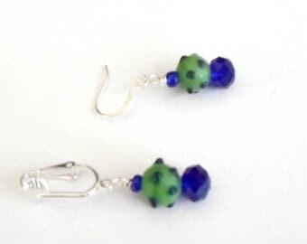 Lampwork earrings green satin blue dots cobalt crystals handmade pierced