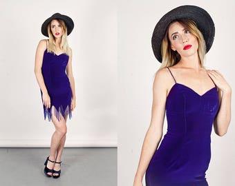 Vintage 80s Fitted Dress Violet Purple Velvet Fringe Beaded Dress