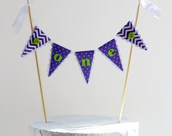 First Birthday Smash Cake Topper - Purple and Lime Green - Spots, Chevrons and Buttons