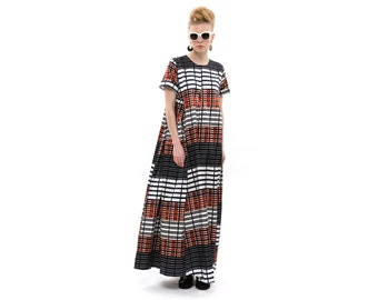 Checkered Maxi Dress, Long Evening Dress with short Sleeves and Pockets, Trendy Cocktail Dress