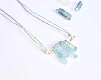 Blue quartz crystal necklace ~ hygge chakra folk boho bohemian gemstone crystal healing jewellery mermaid unicorn unique aura spiritual