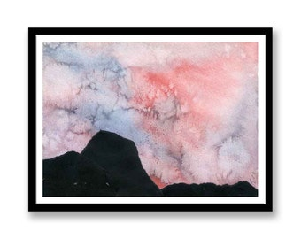 Alien Skies Original Watercolour Painting -- collage  -- Abstract Paintings -- - Watercolour -- Anniversary Present -- Birthday Present