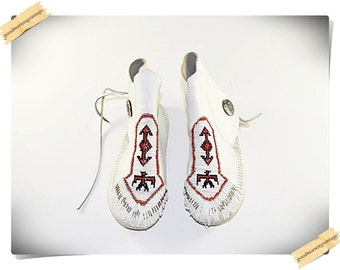 Minnetonka White Leather Moccasins