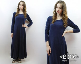 Velvet Maxi Dress 90s Velvet Dress 90s Grunge Dress 90s Dress 90s Maxi Dress Navy Velvet Dress Minimalist Dress Normcore S M 1990s Dress