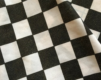 Black and White Checked Spandex Fabric