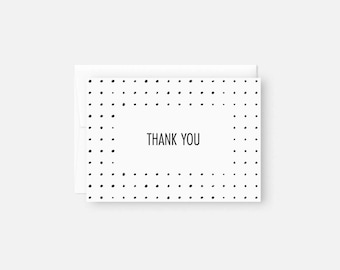 Modern Thank You Notes / Thank You Card Set / Black and White / Dots / Engagement Party, Bridal Shower, Baby Shower, Birthday
