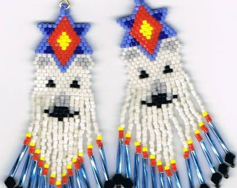 Hand Beaded  white Wolf with long fringe earrings