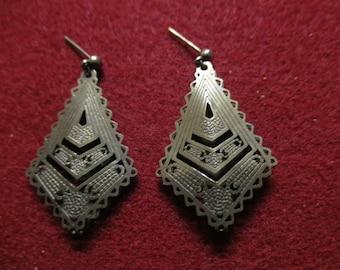 Vintage Art Nouveau Pierced Dangling Earrings