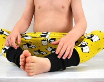 SAVE 15% - Kids jersey leggings yellow panda yoga pants baggy harem trousers zoo baby animal stretch knit toddler jersey children unisex