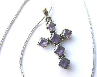STERLING Silver AMETHYST Cross, 925 Sterling Silver Amethyst Cross Pendant, Feminine Gemstone Vintage Cross , Amethyst Cross Necklace