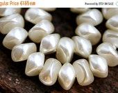 ON SALE Faux pearls, White pearls, Czech glass beads, chunky, nuggets - 6x8mm - 25Pc - 0025