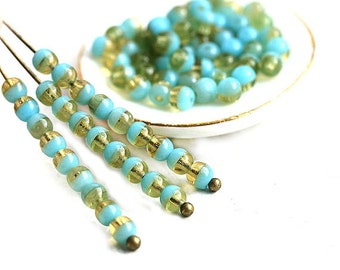 3mm round beads, czech glass small spacers - Turquoise Blue and Amber yellow, druk, tiny beads - approx.170Pc - 0193