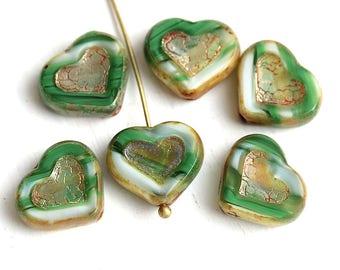 Mixed Green Heart beads, Picasso czech glass beads, table cut glass heart - 14mm - 6Pc - 2977