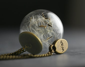 Real Dandelion Seeds in glass orb with bronze necklace and WISH charm.
