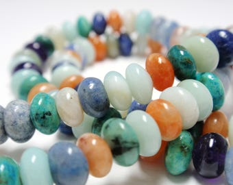 """Multi Mix Rondelle Stones, 6mm Natural Multi Color Rondelle Gemstone Beads, 8 1/2"""" Strand - 58 Beads"""