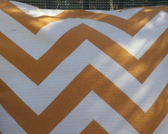 Reversible Orange and Cream Chevron Outdoor Pillow Cover-20 x 20 - Self Corded with Zipper