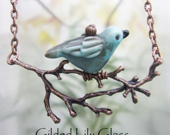 Bird on a Branch Pendant, Torchwork Glass Jewelry Handcrafted in North Carolina