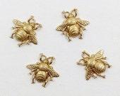 Raw Brass Bee, Bee Embellishment, Brass Honey Bee, Jewelry Supplies, Raw Brass Stamping 19mm x 17mm- 4 pcs. (r304)