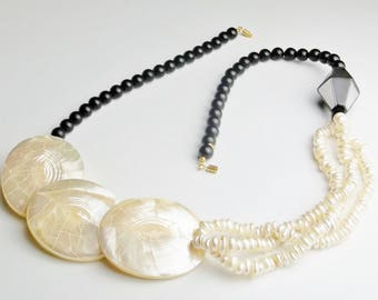 Bold Beach Summertime 1980's Vintage Faux Mother of Pearl & Shell Costume Jewelry Necklace Gift For Her on Esty