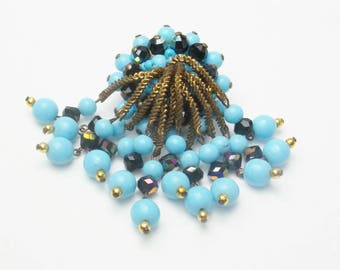 Baby Blue Glass Beads Crystal Vintage Mid Century 1950's Costume Jewelry Dangle Large Brooch Pin Gift For Her on Etsy