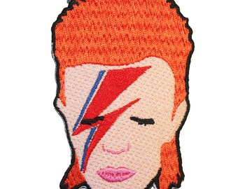David Bowie Aladdin Sane Ziggy Stardust Iron On Patch Embroidery Sewing DIY Customise Denim Cotton Cute 80's Rock n Roll Glam