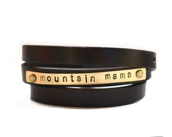 leather wrap bracelet, leather bracelet, mountain mama, leather wrap cuff, mom jewelry, stamped leather wrap bracelet