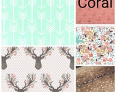 Custom Listing- 32x42 Patchwork Blanket, Tulip Fawn, Mint Arrow, Meadow Flowers, Deer Skin Minky, Coral Minky