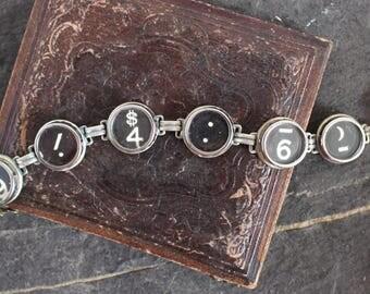 Typewriter Key Bracelet, jewelry vintage up cycled repurposed antique retro recycled teacher editor secretary writer gift