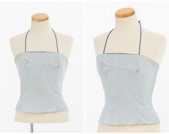 Vintage Halter Top // 1950s Striped Blue Sun Top By Loomtogs Small Medium