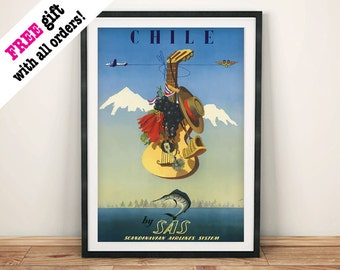 CHILE TRAVEL POSTER: Vintage Airline Advert Art Print Wall Hanging