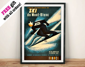 SKI MONT BLANC: Vintage Skiing Poster, France Travel Art Print